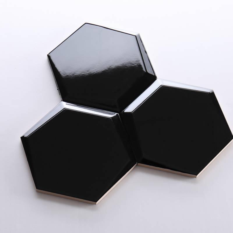 Gạch lục giác đen bóng vát 87*173*150mm M1715807