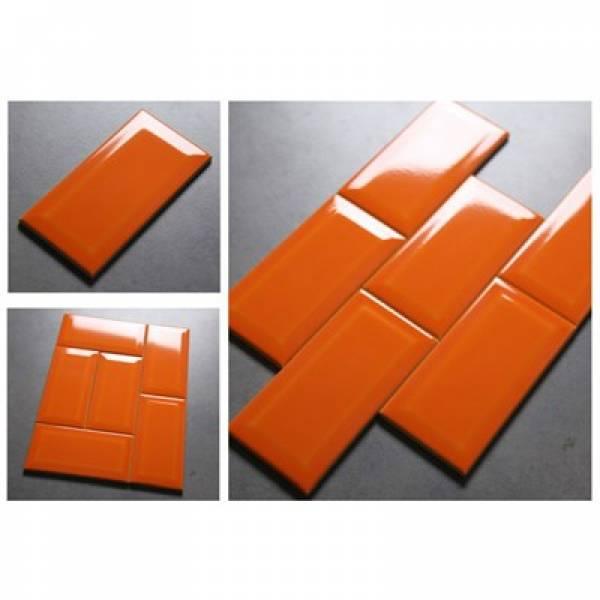 Gạch thẻ ốp tường nhập khẩu màu cam KT 75x150mm MT-GNK-007
