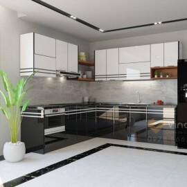 Tủ bếp inox cánh kính cường lực CK12 VINAKIT